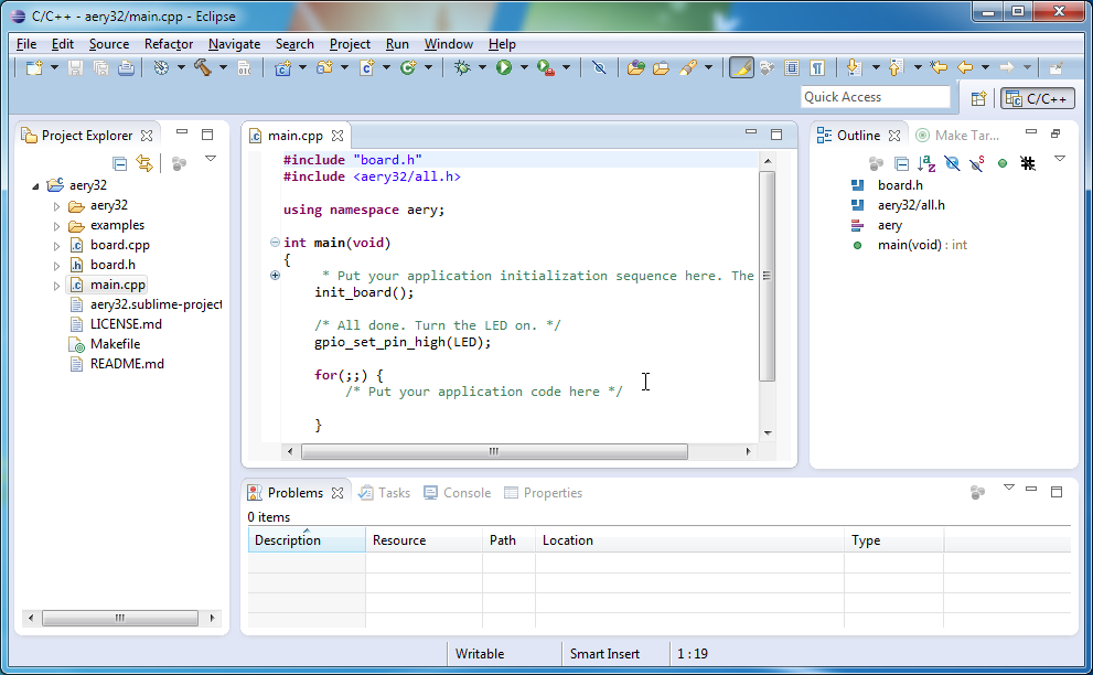 how to write a c program in eclipse juno